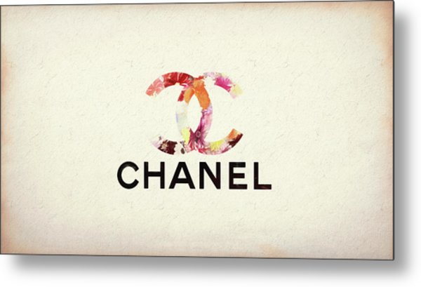 Chanel Floral Texture  Metal Print