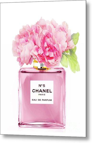 Chanel N5 Pink With Flowers Metal Print