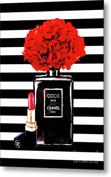 Chanel Poster Chanel Print Chanel Perfume Print Chanel With Red Hydragenia 3 Metal Print