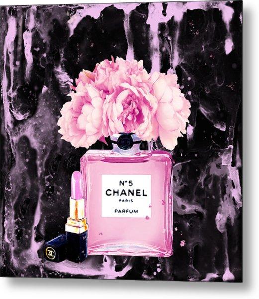 Chanel Print Chanel Poster Chanel Peony Flower Black Watercolor Metal Print