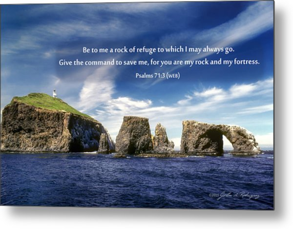Channel Island National Park - Anacapa Island Arch With Bible Verse Metal Print