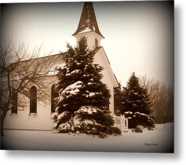 Chapel In The Snow Metal Print by Trina Prenzi