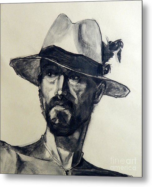 Charcoal Portrait Of A Man Wearing A Summer Hat Metal Print