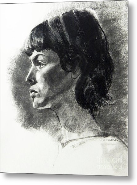 Charcoal Portrait Of A Pensive Young Woman In Profile Metal Print