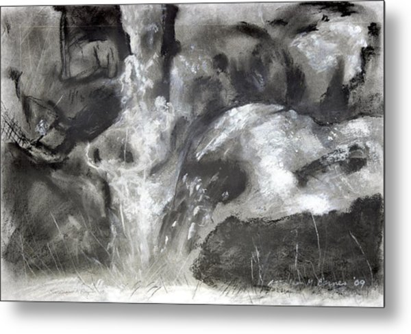 Charcoal Waterfall Metal Print