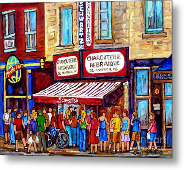 Charcuterie Hebraique Schwartz Line Up Waiting For Smoked Meat Montreal Paintings Carole Spandau     Metal Print