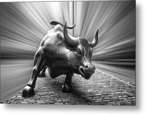 Charging Wall Street Bull B W Metal Print
