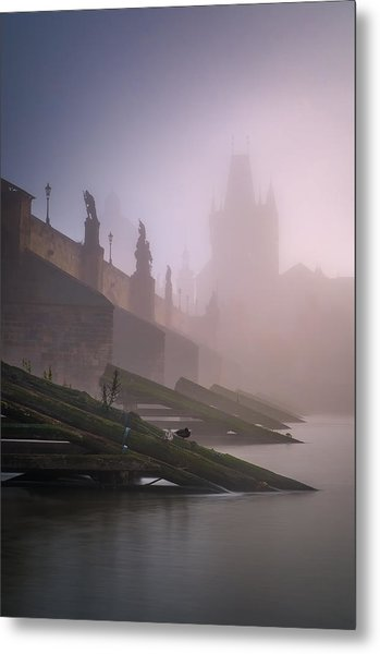 Charles Bridge At Autumn Foggy Day, Prague, Czech Republic Metal Print