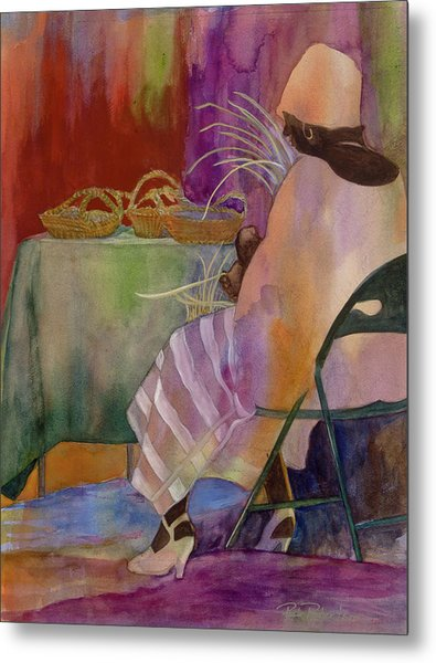 Metal Print featuring the painting Charleston Basket Weaver by Paula Robertson