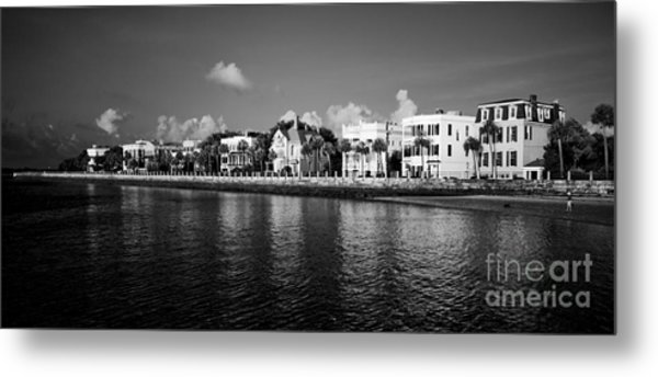 Charleston Battery Row Black And White Metal Print
