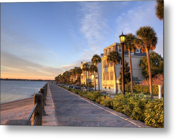 Charleston East Battery Row Sunrise Metal Print