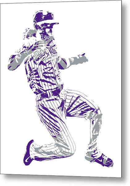Charlie Blackmon Colorado Rockies Pixel Art 12 Metal Print