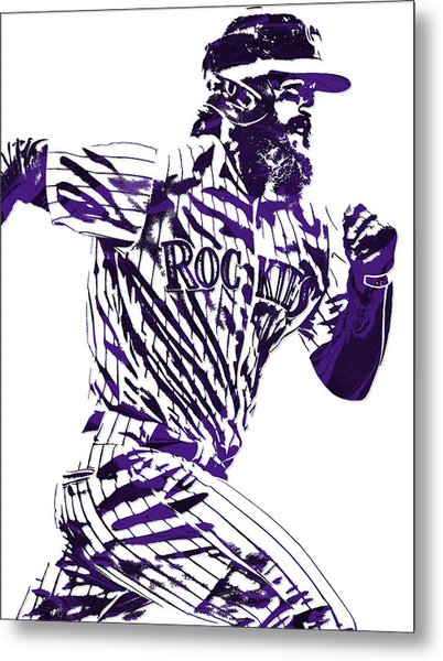 Charlie Blackmon Colorado Rockies Pixel Art 4 Metal Print