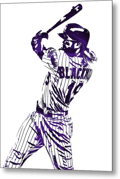 Charlie Blackmon Colorado Rockies Pixel Art 5 Metal Print