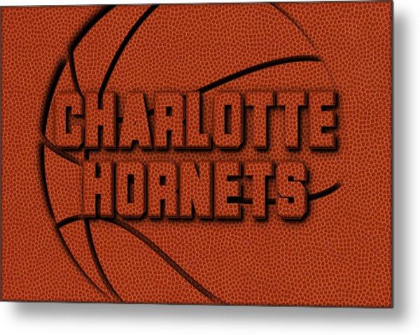 Charlotte Hornets Leather Art Metal Print