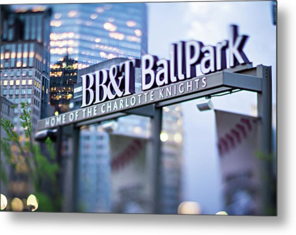 Metal Print featuring the photograph  Charlotte Nc Usa  Bbt Baseball Park Sign  by Alex Grichenko