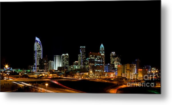 Charlotte Skyline Panoramic Metal Print by Patrick Schneider