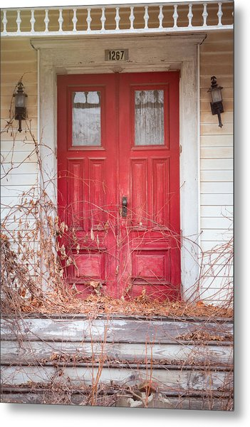 Metal Print featuring the photograph Charming Old Red Doors Portrait by Gary Heller
