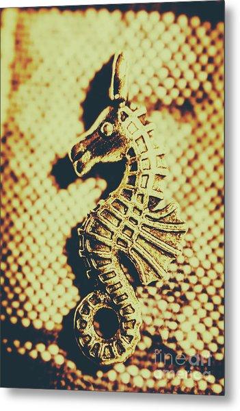 Charming Vintage Seahorse Metal Print