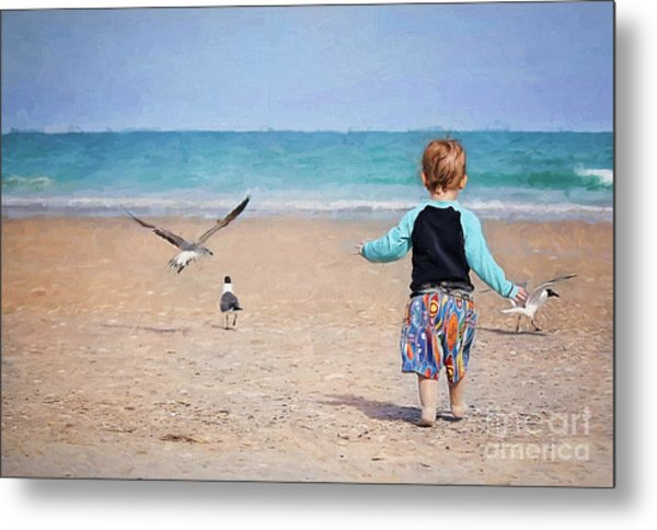 Chasing Birds On The Beach Metal Print