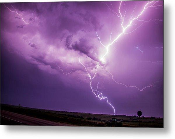 Metal Print featuring the photograph Chasing Nebraska Lightning 018 by NebraskaSC