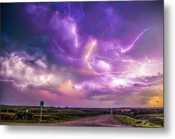 Metal Print featuring the photograph Chasing Nebraska Lightning 056 by NebraskaSC
