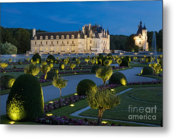 Chateau Chenonceau Twilight Metal Print