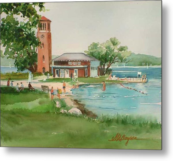 Chautauqua Bell Tower And Beach Metal Print
