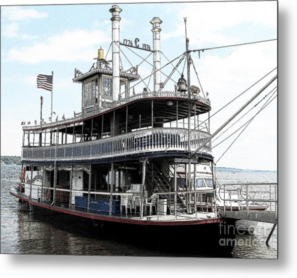 Chautauqua Belle Steamboat With Ink Sketch Effect Metal Print