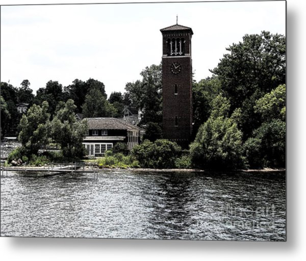 Metal Print featuring the photograph Chautauqua Institute Miller Bell Tower 2 With Ink Sketch Effect by Rose Santuci-Sofranko