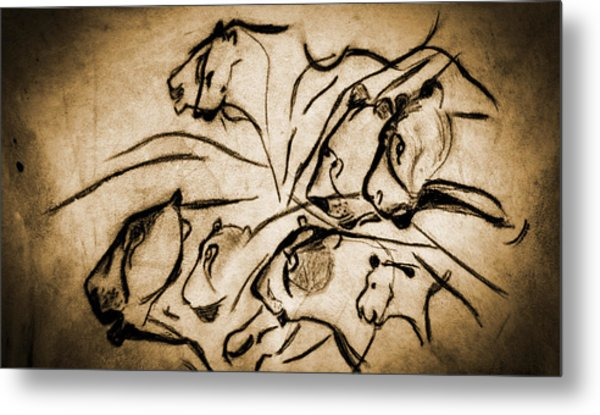 Chauvet Cave Lions Burned Leather Metal Print