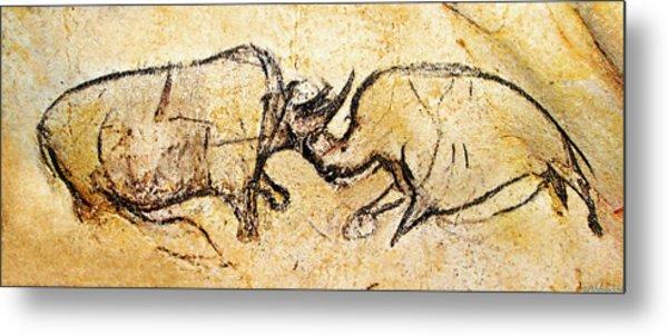 Chauvet Rhinoceros In Combat Metal Print