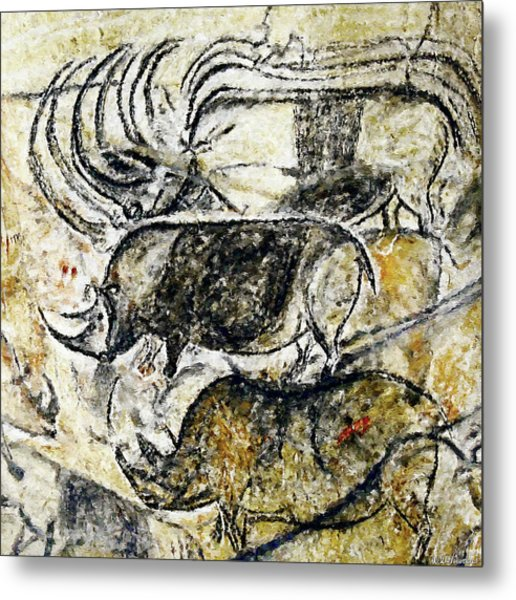 Chauvet Three Rhinoceros Metal Print