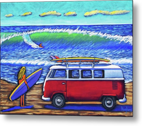 Checking Out The Waves Metal Print