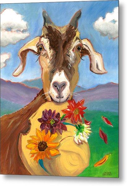 Cheeky Goat Metal Print
