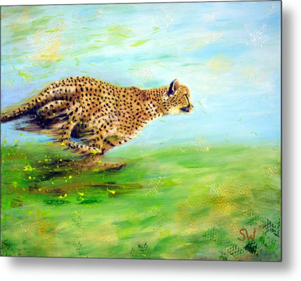 Cheetah At Speed Metal Print