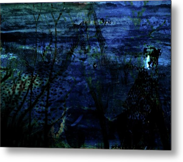 Cheetah Blue Metal Print by Carole Guillen