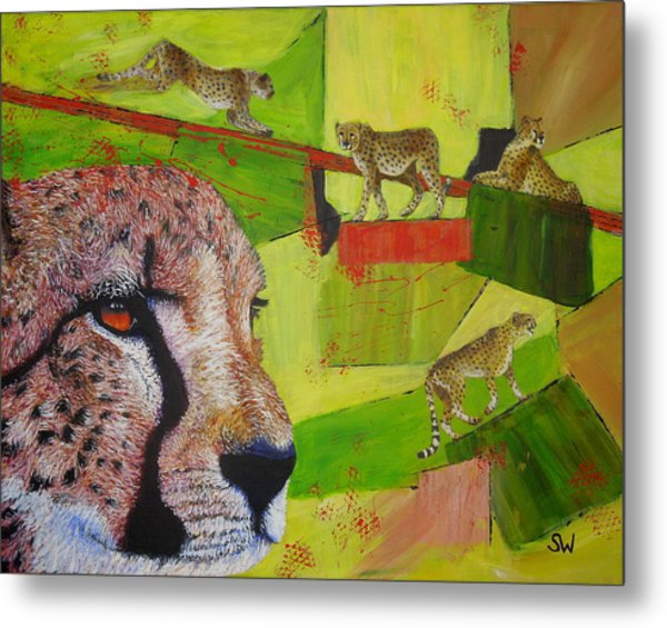 Cheetahs At Play Metal Print