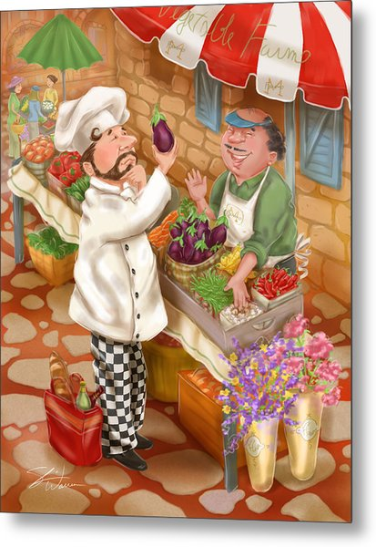 Chefs Go To Market I Metal Print