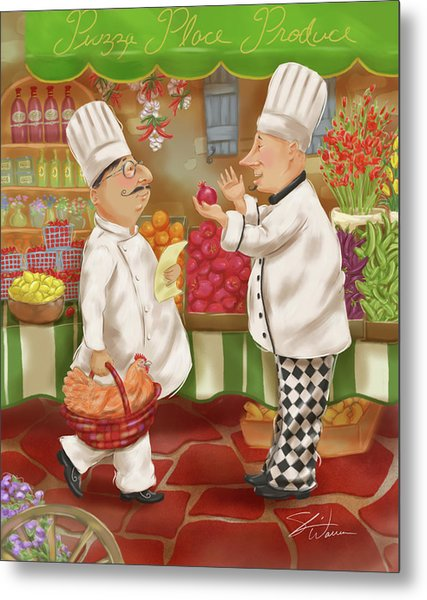 Chefs Go To Market Iv Metal Print