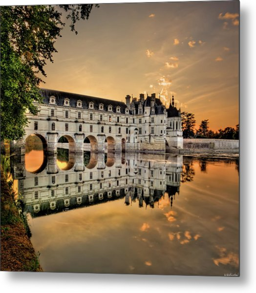 Chenonceau Castle In The Twilight Metal Print