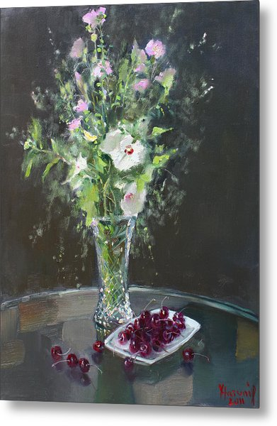 Cherries And Flowers For Her IIi Metal Print