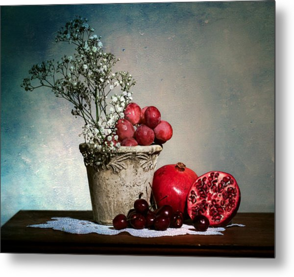 Cherries And Pommegranates Metal Print