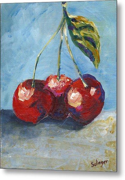 Cherries By Three Metal Print