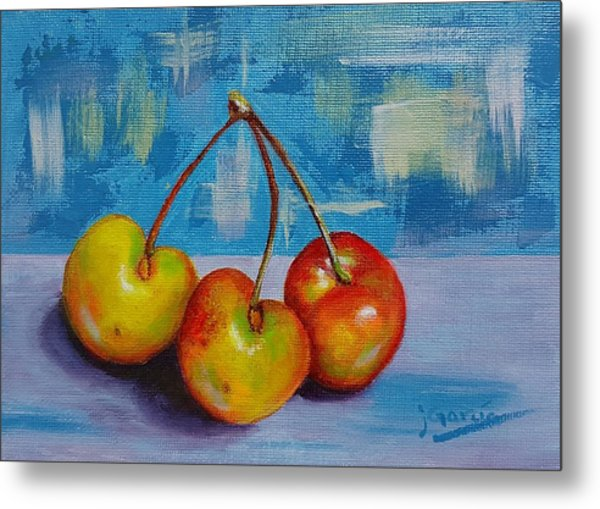 Cherries Trio Metal Print