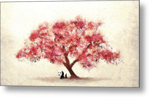 Cherry Blossom And Panda Metal Print