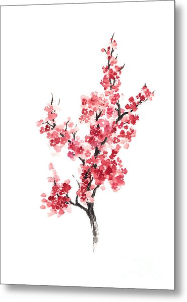 Cherry Blossom Japanese Flowers Poster Metal Print