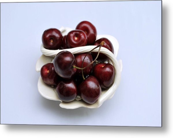 Cherry Dish Metal Print by Terence Davis