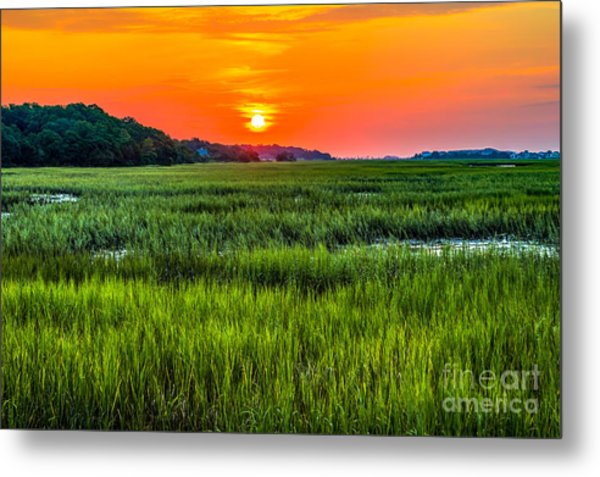 Cherry Grove Marsh Sunrise Metal Print
