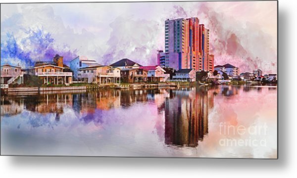 Cherry Grove Skyline - Digital Watercolor Metal Print